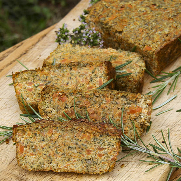 Seed roast loaf with sunflower seeds, carrot. Easy vegan. Healthy & delicious. Anastasia Kind Earth