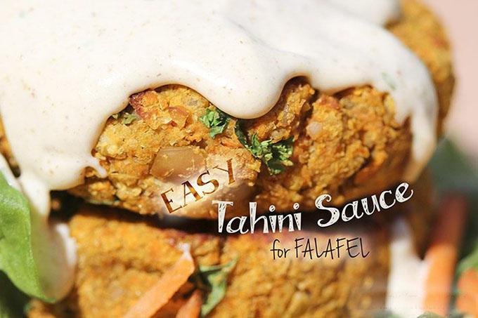 Easy Tahini sauce for falafels vegan gluten-free