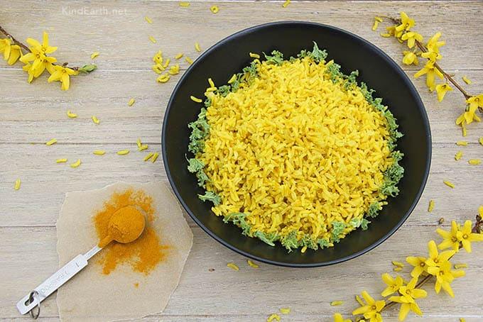 How to make perfect yellow turmeric rice by Anastasia, Kind Earth - gluten-free, vegan