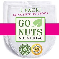 "USA: 2-PACK Best Nut Milk Bag - Restaurant Commercial Grade by GoNuts - Cheesecloth Strainer Filter For the Best Almond Milk, Cold Brew Coffee, Tea, Juicing, Yogurt, Tofu - BPA-Free Nylon 12""x10"" Fine Mesh - Durable Washable Reusable - FREE Recipe E-book"